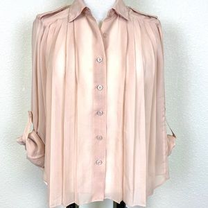BCBGeneration Sheer Nude Pleated Button Front Top
